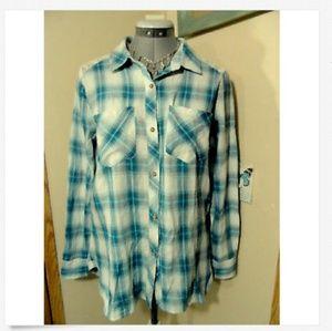 DEMOCRACY Plaid Button Shirt S Blue Oversized LS